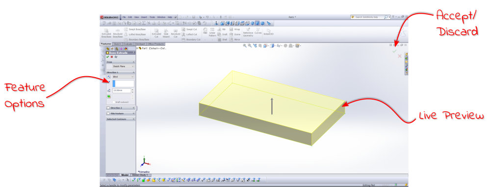 Solidworks boss extrude