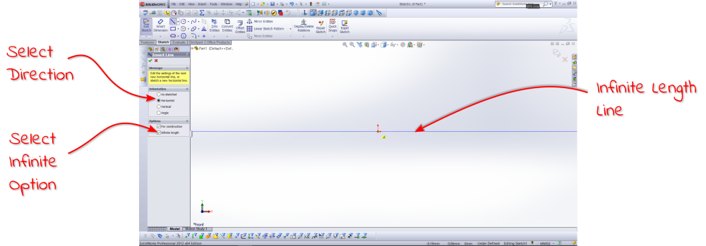 Infinite Length line SolidWorks