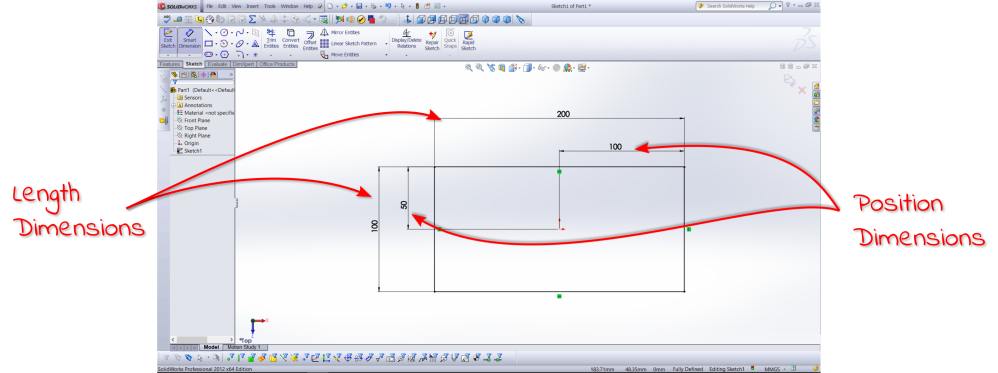 SolidWorks Dimensions