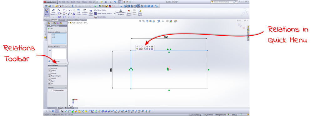 SolidWorks Relation Toolbars