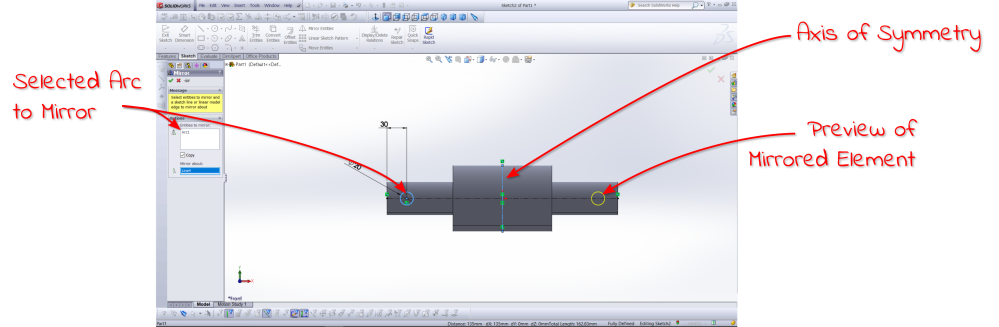 Solidworks mirror function