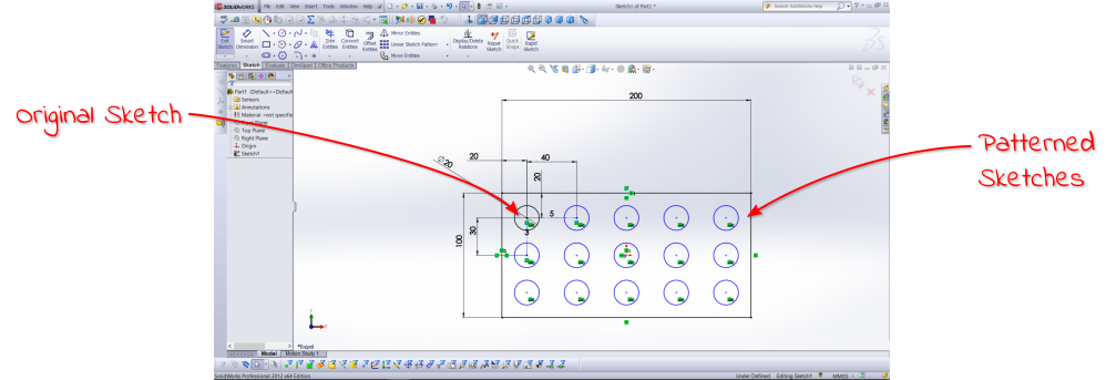 SolidWorks Linear Pattern Example